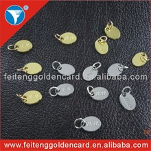 High quality silver/gold oval shape small custom metal jewelry tags with engraved letters