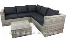 2014 de vime rattan sofá interior em forma de l sofá exterior sofá de vime pátio