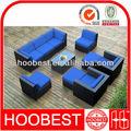 Azul sofá seccional, fabricante de fábrica al por mayor directa, sintético rota de plástico al aire libre jardín patio de mimbre muebles de juegos