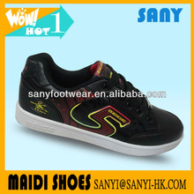 fashionable skate shoe with durable black genuine leather and RB outsole