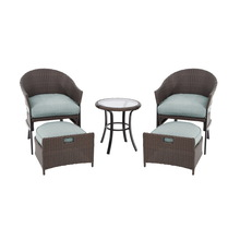 Garden Treasures 5-Piece South Point Brown/Tan Steel Patio Conversation Set with Solid Blue Cushions