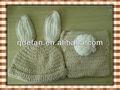 tığ işi bebek tavşan şapka ve bebek bezi kapağı seti