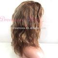 #4#27 capelli biondi con marrone evidenziare umano capelli brasiliano pieno parrucche del merletto