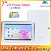 7 inch MTK6572 2G andriod phone GSM Bluetooth GPS tablets android tablet Dual Core 1.2GHZ 1024x600 HD Dual Cam