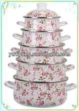 Full Rosy Decal White Enamel Pot Set High Quality Enamel Pot Set 5 pcs Casserole Home Use Pot For Cooking