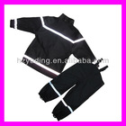 Polyester coated PU black /red children suit with reflective stripe