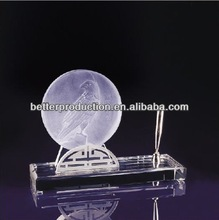 custom crystal pen holder with eagle ice sculpture for desktop stationery,business craft,gift