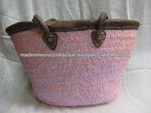 Marroquí zoco cesta de paja con asas de cuero