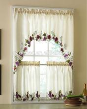 100% polyester embroidered kitchen window curtain design