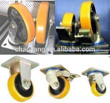 5 inch heavy duty castor pu / nylon wheel yellow color