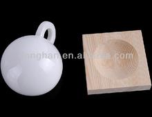 flared porcelain coffee mug with wooden holder