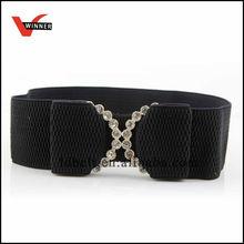 Hot Sale women dressy elastic belt with rhinestone