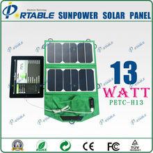 13W sunpower high efficiency portable folding solar for phone/tablet