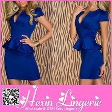 Unique ladies v-neck peplum blue bandage dress