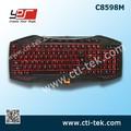 Con conexión de cable profesional multimedia con retroiluminación led juego de teclado para el ordenador portátil pc( rojo, azul o verde color de un solo sistema de iluminación)