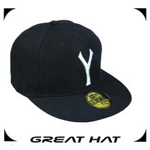 Hot Selling Flat Brim Black Solid Color Snapback Hat