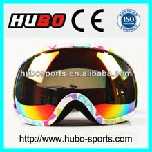 Stylish big lens best skiing goggles safety colorful snow eyewear