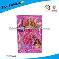 Bonito de la princesa color de rosa con vestido para el bebé de la muchacha hermosa sólido de la muñeca moda