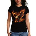 Wellcoda   Flaming Eagle Bird Wild Air Predator Womens Ladies T-Shirt NEW Top 100% Cotton Tee S-2XL Size