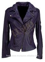 Purple Colour Asymmetric fastening original sheepskin genuine leather jacket for women