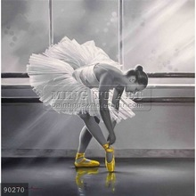 100% Handmade Famous Ballet Paintings Oils on Canvas Ballerinas Girls in Black and White,touch of passion #90270