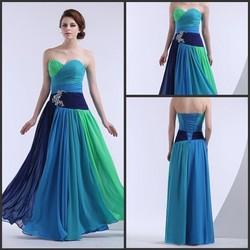 Wholesale Colorful Sweetheart Neck Chiffon Evening Dress