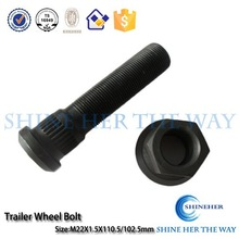 Trailer parts stud bolt and nut with black oxide for South America Market