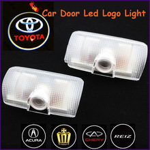 China Auto part ABS material toyota laser light no drilling led laser car logo door courtesy light