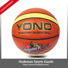 2015 New 12 panels YN-901 Customize basketball rubber colorful laminated PU cheap basketball ball accessories