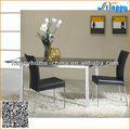 Dt-914 tampo de vidro temperado base de metal mesa de jantar e cadeiras