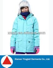 Top quality ocean blue women outdoor warm ski down jackets