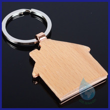House shape wood & metal keyring/new gadgets 2014 souvenir wood keychain house