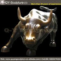 Large Wall Street Cast Bronze Bull Sculpture