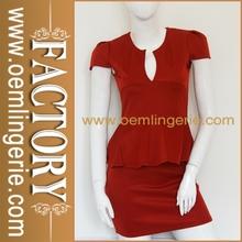 Cut Out Front Adorn Waist Short Sleeves Mini Club Sexy women formal dress