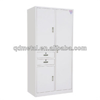 modern design 2 doors small Metal clothes Cabinet with 2 drawers