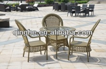 Tables and chairs rattan furniture poly rattan hot sell cheap table set garden knock down rattan table balcony furniture