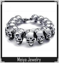 Wholesale high quality stainless steel gothic skull biker men skull head bead bracelet