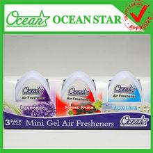 Wholesale 60g*3pk Mini gel car air freshener