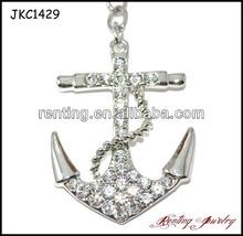 High Quality Fashion Crystal Nautical Anchor Key chain
