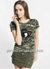 Camouflage T-shirt female summer new diamond stretch Slim primer shirt girl big yards camouflage