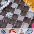 15x15x8mm en blanco y negro piso de baldosas de vidrio agrietado y hoja de plata y piedra natural mezcla de mosaico de azulejos de piso de diseño de imágenes