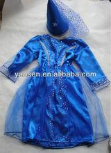 Blue satin warrior princess costume ; medieval dress costume