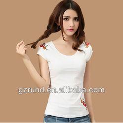 2014 spring new fashion Slim white short-sleeved t-shirt women china manufacturer china wholesale design for sexe girl model-765