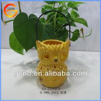 Hot sale! beautiful owl glazed ceramic candle lantern