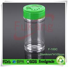 transparent 100ml plastic salt shaker with sifting lid,wholesale PET spice jar round