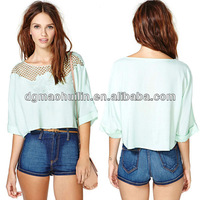 2015 women clothing tops and blouses women fashionable ladies blouse neck models