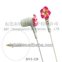 fashion MP3 earphone handphone pc phone Crystal flowers earphone earphones china wholesale