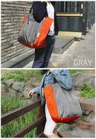 large capacity color block folding waterproof eco-friendly nylon foldable shopping bag