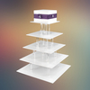 5 layers square white acrylic cake display stand