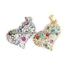 Newest Lovers gift usb drive Diamond Jewelry Heart Shape USB Flash Drive